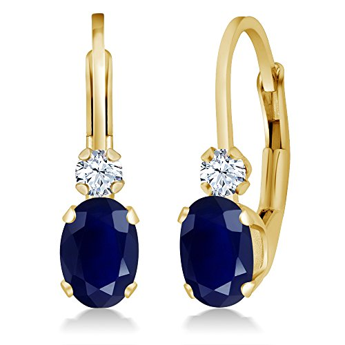 118-Ct-Oval-Blue-Sapphire-White-Created-Sapphire-14K-Yellow-Gold-Earrings