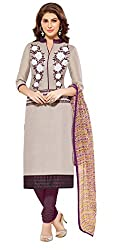 Jiya Presents Embroidered Bhagalpuri Dress Material (Light Wine Beige,Wine)