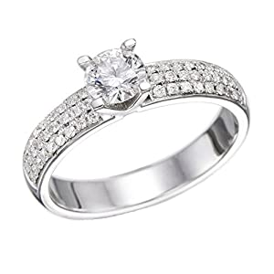 IGI Certified 14k white-gold Round Cut Diamond Engagement Ring (0.85 cttw, H Color, VS2 Clarity)