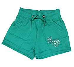 Romano Girls Stylish Cotton Green Shorts