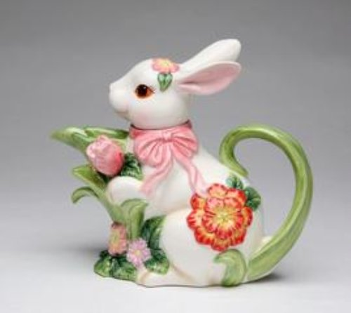 White Bunny with Pink Ribbon and Flower Designs Teapot Collectible