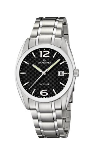 Candino Men's Quartz Watch with Black Dial Analogue Display and Silver Stainless Steel Bracelet C4493/4