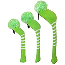 Scott Edwards Lime Green Color With White Strips, Long Neck, Knitted Golf Pom Pom Headcover, Set Of 3 For Driver...
