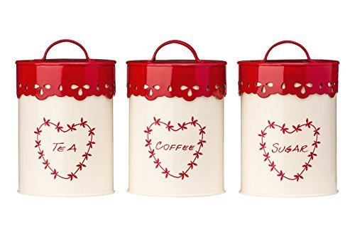 Red and Cream Kitchen Storage Containers