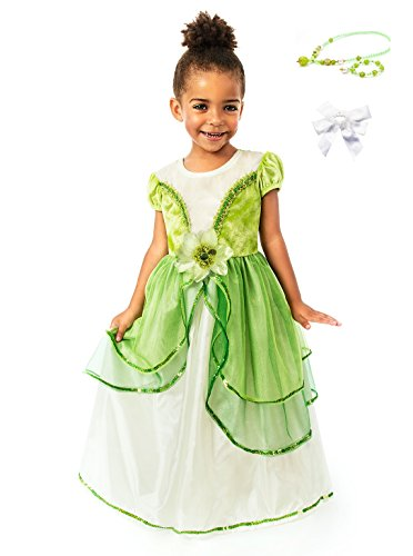 [Little Adventure Lily Pad Princess Dress w/ Necklace, Bracelet & Hairbow Age 3-5] (Lily Pad Costume)