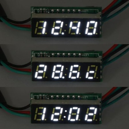 """Riorand Dc 12V Digital Automotive Clock Voltmeter Thermometer Voltage Temp 3In1 Meter 0.28"""" White Led Display front-125898"""
