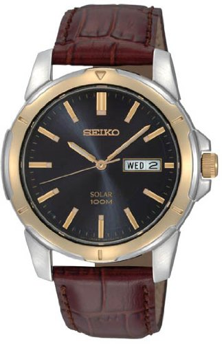 Seiko Blue Dial Brown Leather Band Solar Mens Watch - SNE102