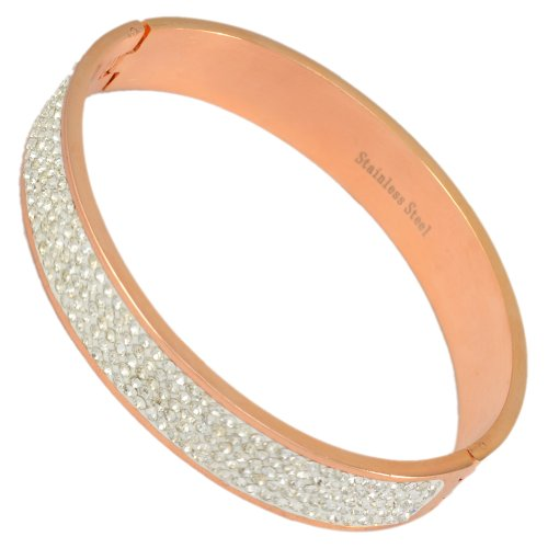 Kadima Stainless Steel Bangle Rose Gold IP Plated With 5-Line Clear Gemstone