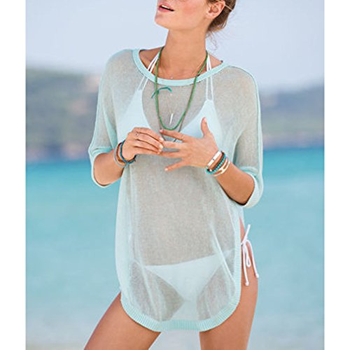 e85b40e65 MG Collection® Designer Sheer Turquoise Swimwear Cover Up / Beach Top w/  Sleeves
