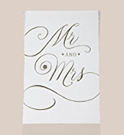 Mr & Mrs Gold Foil Text Wedding Day Card
