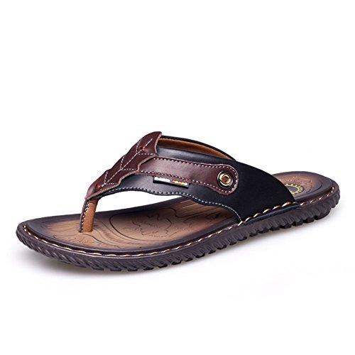 Tongs de nouveau été/Babouches en cuir pour hommes/sandales Homme/Perméable à l'air toe chaussures/Glisser les sandales pour hommes