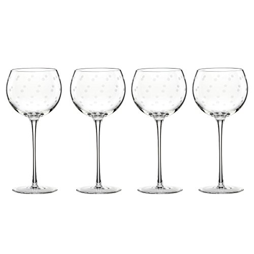 Kate Spade New York Larabee Dot Balloon Wine Glasses, Set of 4