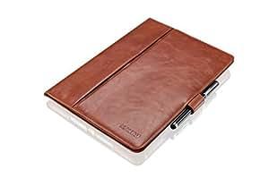 """KAVAJ Ledertasche Case Hülle """"London"""" für das Apple iPad Air 2 cognac braun aus echtem Leder mit Standfunktion inkl. Eingabestift. Dünnes Smart Cover als edles Zubehör für das Original iPad Air 2"""