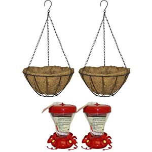 CobraCo HBBIRDGIFT 2 Black Growers Style 16 Inch Hanging Baskets with 2 Perky-Pet Magnolia Top Fill Hummingbird Feeders and Free Nectar