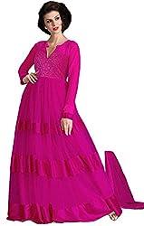 Clickedia Women & Girls Beautiful Semi Stitched Net Pink Gown
