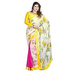Resham Fabrics Multicolor Georgette Printed Saree