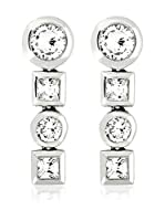 Art de France Pendientes Square And Circle metal bañado en oro 24 ct