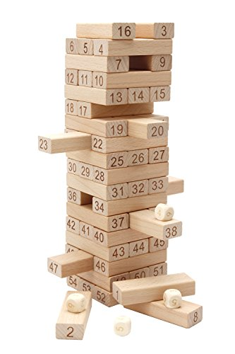 Lewo Wooden Building Blocks Set Children Educational Math Toys Tumbling Tower Games-54-piece