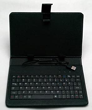 "7"" Tablet Belief With USB Keyboard - Black Faux Leather Carrying Protection"