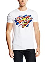 DC COMICS Camiseta Manga Corta Superman Torn Logo (Blanco / Multicolor)