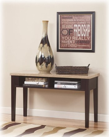 Cheap Contemporary Espresso Marble Top Console Sofa Table (T164-4)
