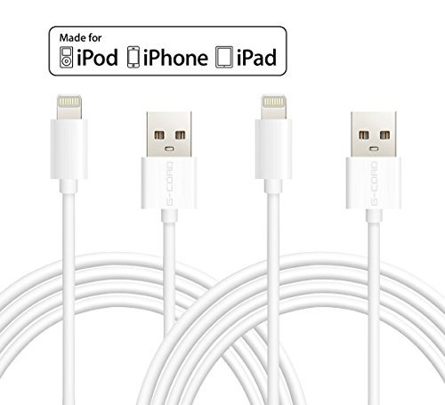 Certified G-Cord® 2 Pack 10FT Lightning to USB Charger Data Sync Cable for iPhone 6s Plus / 6 Plus / SE, iPad Pro Air 2 and More (White) (Ipad Air Charging Cord Long compare prices)