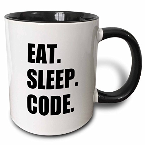 3dRose mug_180391_4 Eat Sleep Code Computer Coder Programmer Love to Program Coding Two Tone Black Mug, 11 oz, Black/White