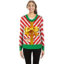Faux Real - Women's Gift Wrapped Ugly Sweater Long Sleeve T-Shirt - Large