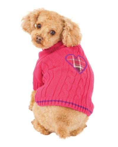 Fashion Pet Pink Heart to Heart Dog Sweater Medium