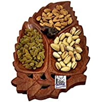 "National Handicrafts 12"" X 6"", 3 Part Dry Fruit Leaf Tray Home Decor Kitchen Dinning Table Serving Fruits Gift..."
