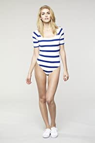 L!VE Half Sleeve Stripe Pique Scoopback Bodysuit T-Shirt