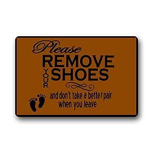 Custom machine washable door mat please remove your shoes indoor outdoor doormat 23 - Remove shoes doormat ...