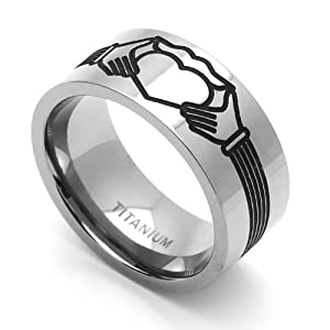 9MM Comfort Fit Titanium Wedding Band Claddagh Design Engraved Flat Ring (Size 7 to 14) Size 7