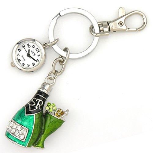 champagne-bottle-silver-tone-novelty-belt-fob-keychain-watch