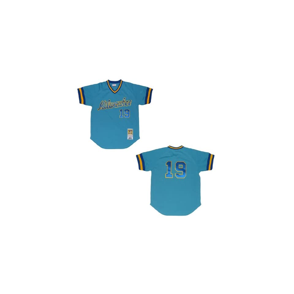 a3e831317 Mitchell   Ness Milwaukee Brewers 1982 Robin Yount  19 MLB Cooperstown  Baseball Jersey Size 44(L)