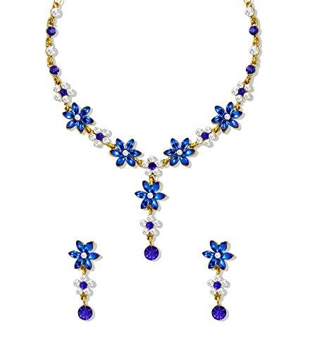 Zaveri Pearls Austrian Diamond Strand Necklace Earrings Set For Girls/Women