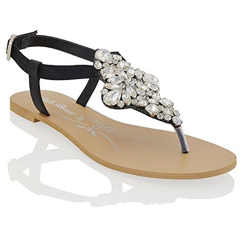 Essex Glam Sandalo Donna Nero Vacanze Infradito T-Bar Finto Diamante EU 41