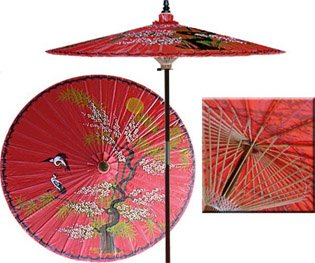 Asian Splendor 7 Foot Patio Umbrella With Base - Dragon Red