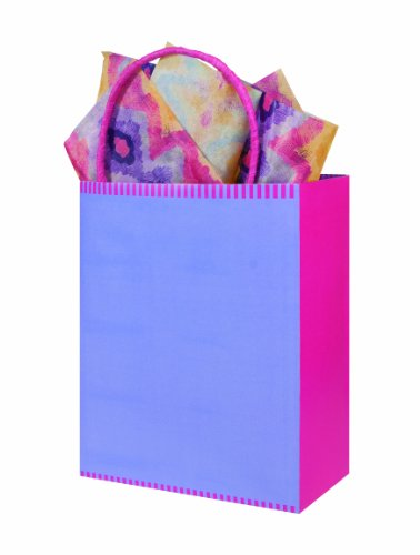 The Gift Wrap Company Pack Of 12 Kraft Paper Gift Bag Totes, Orchid Bloom Lavender front-766797
