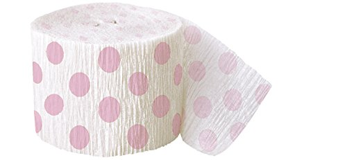 Polka Dot Crepe Paper Streamers, 30 Feet, Light Pink (Streamer Baby Shower compare prices)