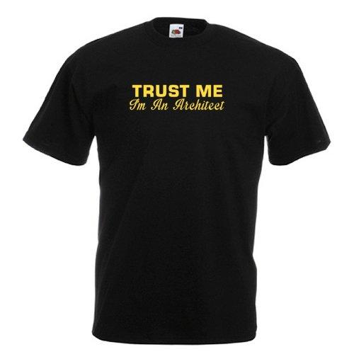 Trust-Me-I-m-un-estndar-de-monitores-de-Architect-negro-T-camisa-con-amarillo-diseo-de-impresin