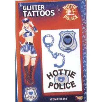 Hottie Police Glitter Tattoos Accessory - 1