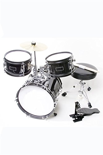 childrens-black-3-piece-12-inch-kids-junior-drum-set-with-chair-sticks-stool-adjustable-tuning-key-d