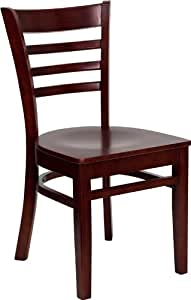 Flash Furniture 4-Pack Hercules Series Ladder Back Wooden Restaurant Chair, Mahogany Finished