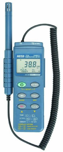 Reed C-314 Thermo-Hygrometer with Datalogger, -328 to 2498 Degrees F Temperature Range, 0 to 100%RH Humidity Range