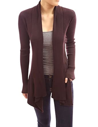 PattyBoutik Long Sleeves Cascading Open Front Sweater Cardigan (Brown XL)
