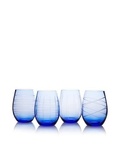 Fifth Avenue Set of 4 Medallion 17-Oz. Stemless Goblets, Blue As You See