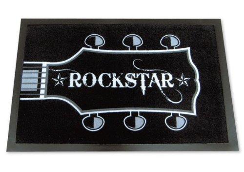 Rockstar-Fumatte-Fussmatte-schwarzwei-Gitarre