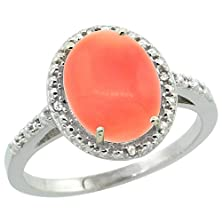 buy Sterling Silver Diamond Natural Coral Ring Oval 10X8 Mm, Size 7