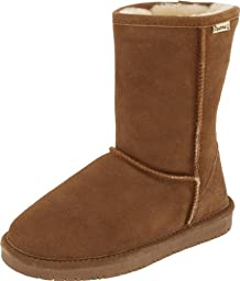Bearpaw Womens Emma Short 8-Inch Suede Sheepskin Boot, Hickory, US 12